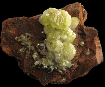 Adamite on limonite from Level 5, Mina Ojuela, Mapimi, Durango, Mexico [db_pics/pics/adamite2a.jpg]