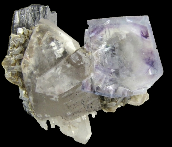 Fluorite on Quartz with Ferberite from Yaogangxian mine, Yizhan co., Chenzhou city, HuNan province, China [db_pics/pics/fluorite3c.jpg]