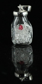 Herkimer diamonds with Spinel Pendant from Ace of Diamonds Mine, Herkimer County, New York [db_pics/pics/herkbottle1a.jpg]