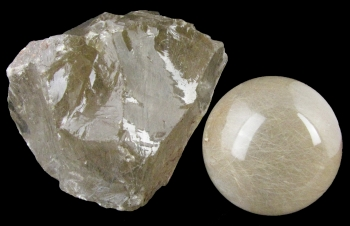 Quartz Var. Rutilated (rough and sphere) from Minas Gerais, Brazil [db_pics/pics/quartz34a.jpg]