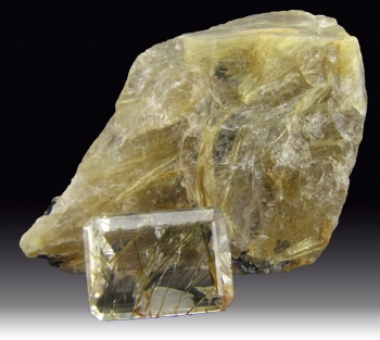 Rutilated Quartz (rough and cut) from Minas Gerais, Brazil [db_pics/pics/quartz52a.jpg]