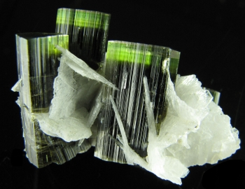 Elbaite Tourmaline with Clevelandite from Stak Nala, Skardu Road, Haramosh Mts., Gilgit, Northern Areas, Pakistan [db_pics/pics/tourm35a.jpg]